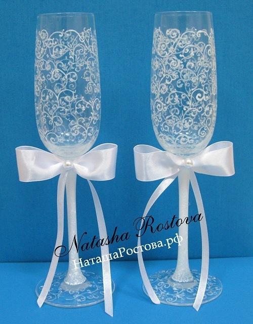 Свадебные бокалы с росписью () от компании Свадебный интернет